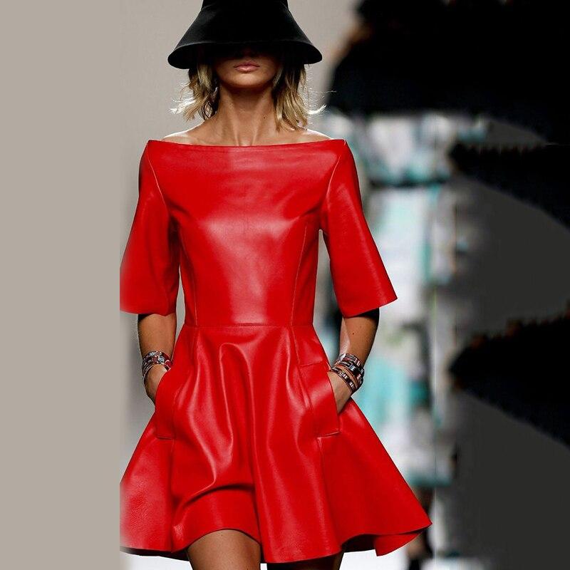 Off Shoulder Red Pu Leather Dress Women Half Sleeve Slash Neck Fit And Flare Bud Dress