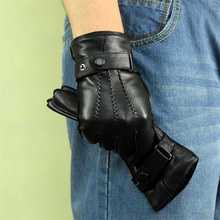 Genuine Leather Gloves Male High Quality Lambskin Man Winter Warm Plus Velvet Thicken Driving Classic Black  DQ1910