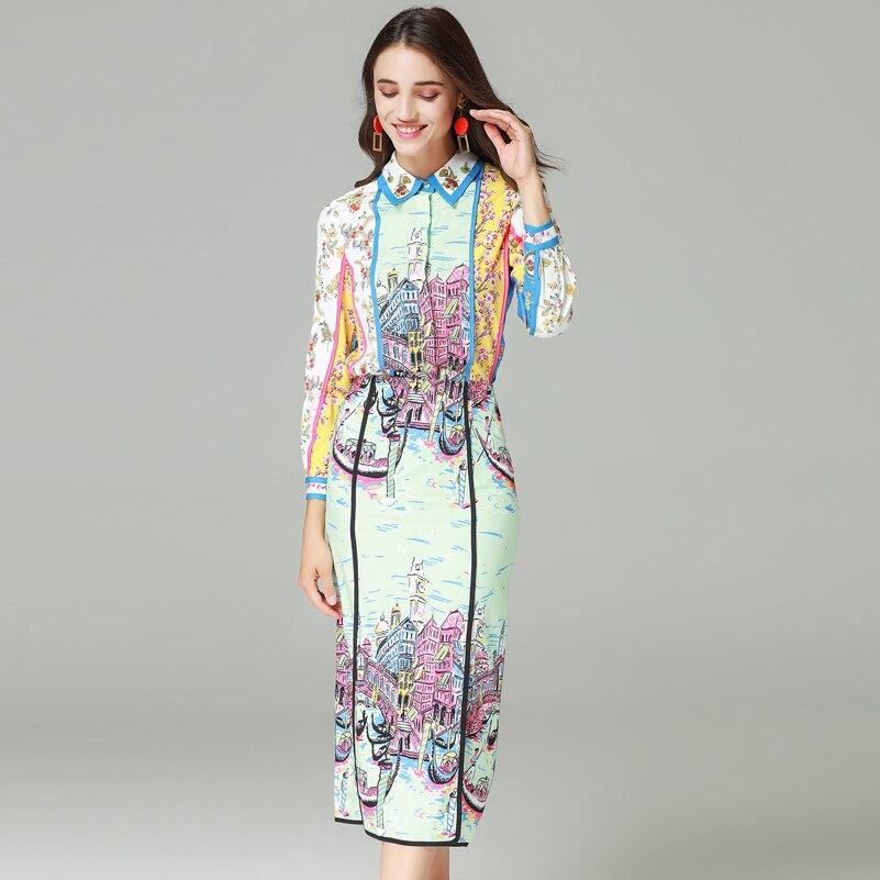 คุณภาพสูงแฟชั่นรันเวย์ชุดสตรีแขนยาวคริสตัลเสื้อและพิมพ์ Mid   Calf Bodycon กระโปรงสบายๆชุด-ใน ชุดสตรี จาก เสื้อผ้าสตรี บน   1