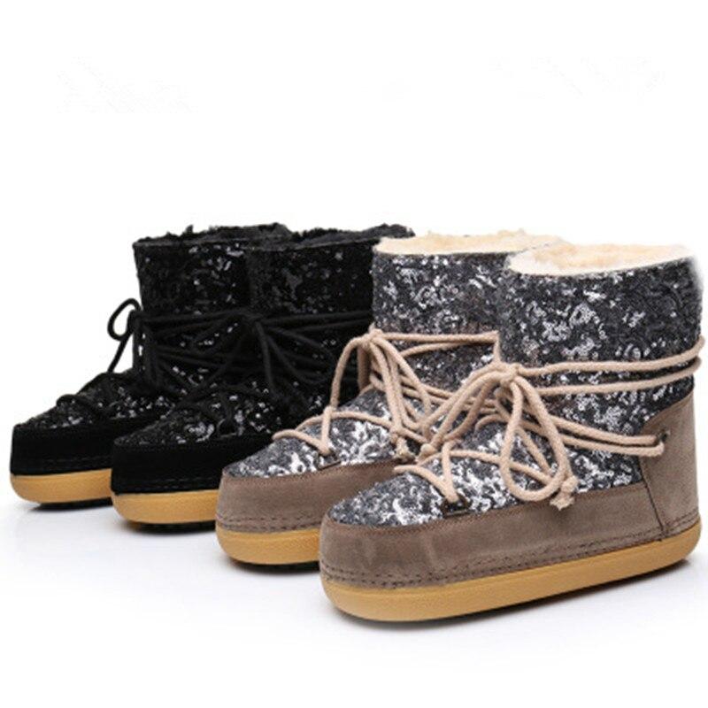 Woman boots2018 winter new warm plus velvet sequin sleeve parent-child ski snow boots tide все цены