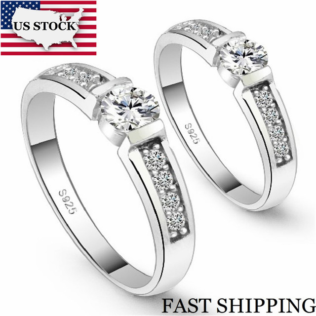 US STOCK Silver Color 2Pcs Engagement Ring Pair Wedding Couple Ring for Women Men Jewelry Cubic Zirconia Rings Set Uloveido J292