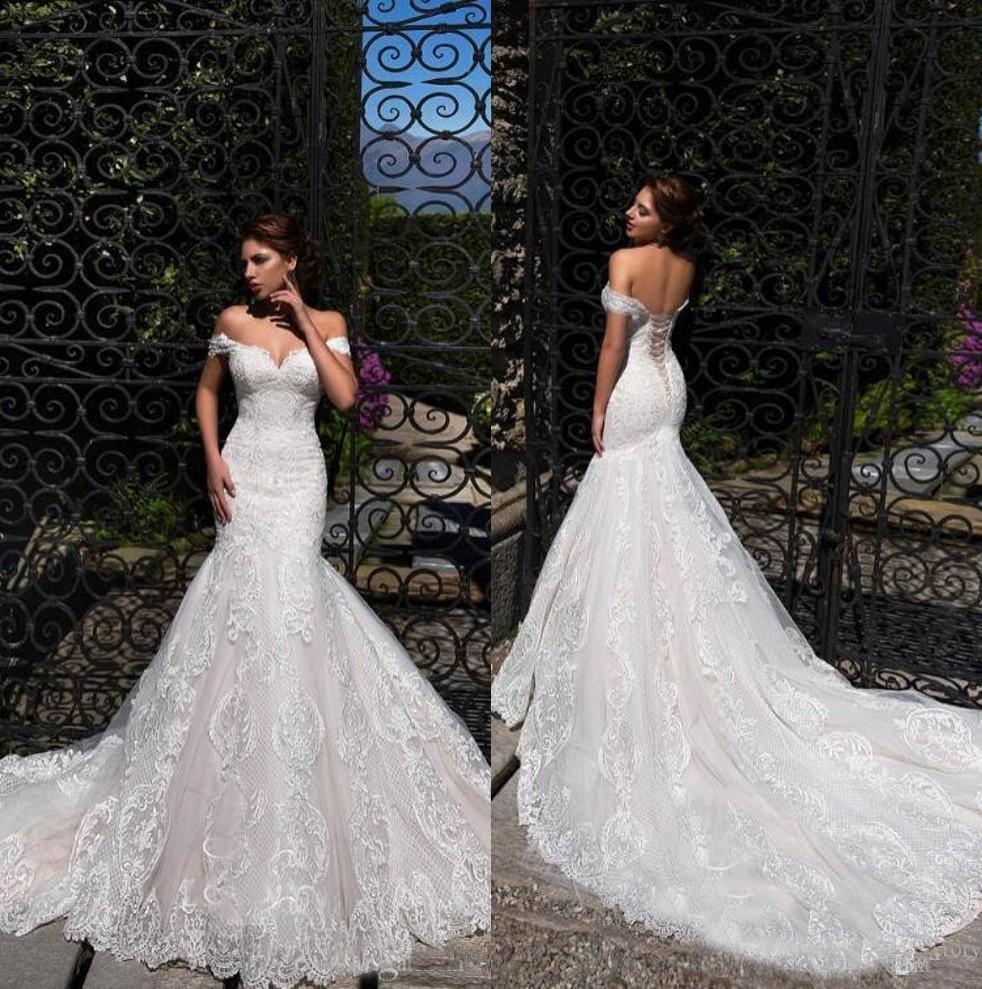 Exquisite Wedding Gowns: 2019 Elegant Lace Mermaid Wedding Dresses Off Shoulder