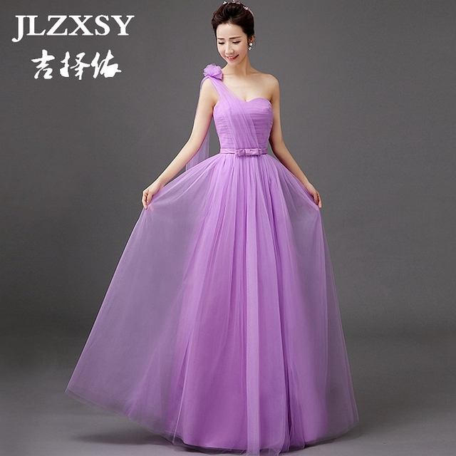 6a95c056be4c JLZXSY New Purple Elegant Cheap Long Maxi Dresses for Wedding Bridesmaid  2017 Pleated Swing Formal Party Dress 4 Styles