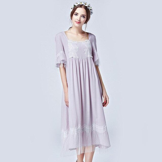 Free Shipping 2017 New Summer Women Sleepwear Short Sleeve Nightgowns Princess Nightdress Vintage Long Nightwear Home Clothes