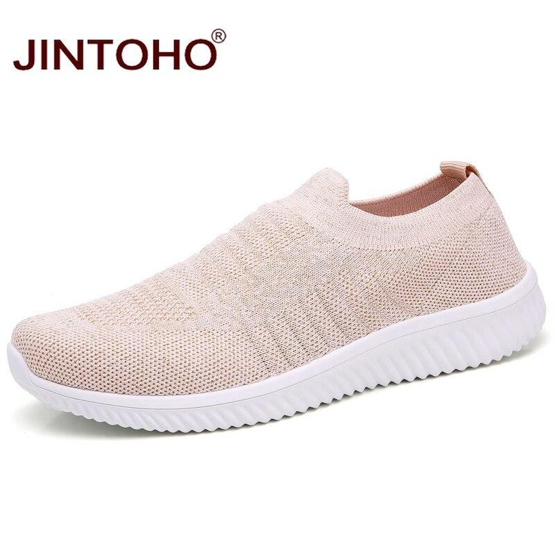 JINTOHO Big Size Women Sneakers Fashion Women Casual Shoes Brand Women Flats Slip On Women Loafers Breathable Ladies Shoes
