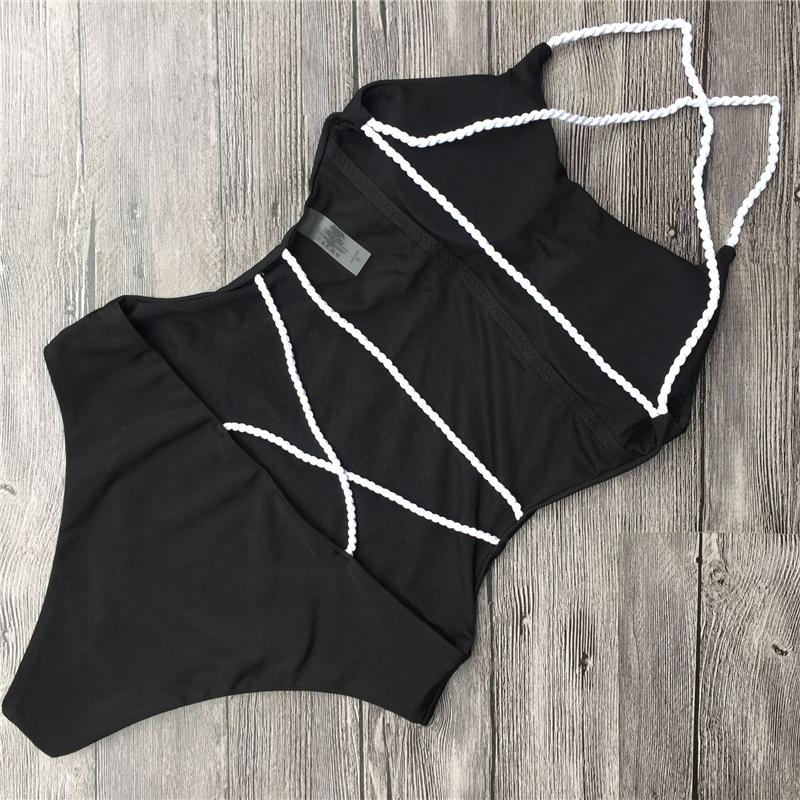Bandage One Piece Swimsuit Solid Women Swimwear