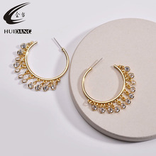 HUIDANG Women unique design luxurious gold hoop earrings with Cubic Zirconia charm pendant fringe earrings 2019 gold earrings with topaz and cubic zirconia 725148 sunlight test 585