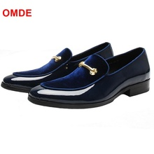 OMDE Patent Leather Men Loafers Fashion Patchwork Slip On Shoes Men Party And Prom Shoes Handmade Boat Shoes Men's Dress Flats