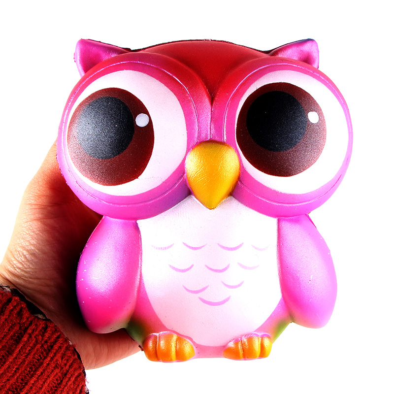 Jumbo Cartoon Bling Rainbow Owl Squishy Slow Rising Kawaii Soft Squeeze Phone Strap DIY Pendant Bread Cake Kid Toys Gift P20