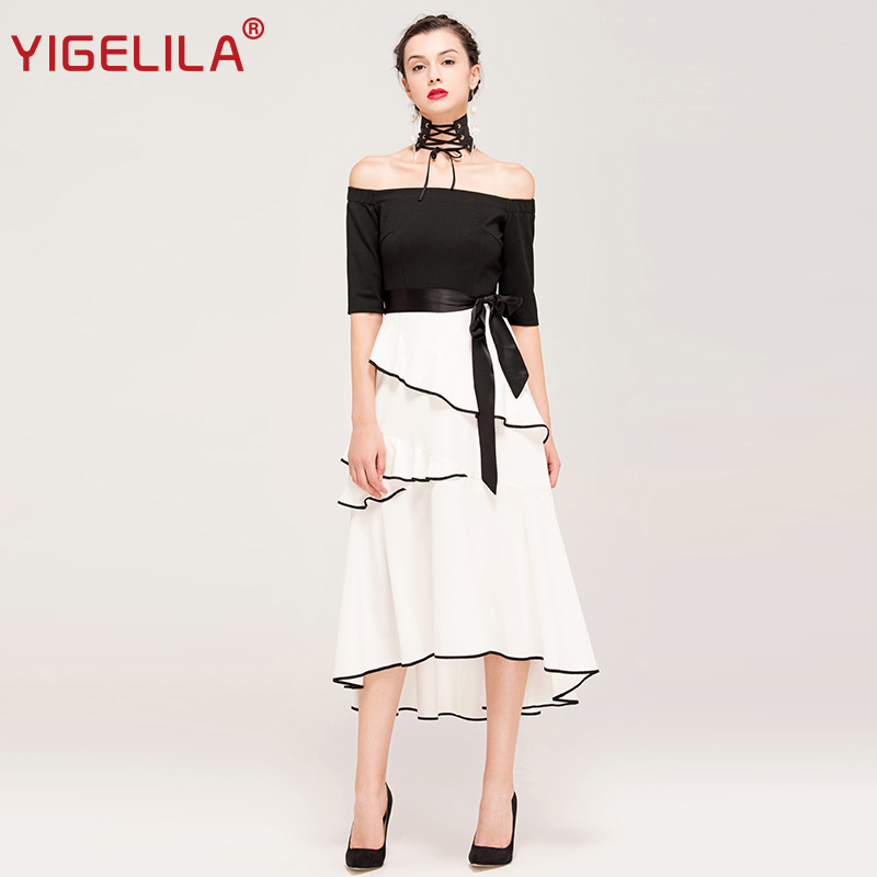 345233299e94 YIGELILA Brand 62253 Latest New Women Summer Fashion Slash Neck Off Shoulder  Black White Patchwork Ruffles Long Dress