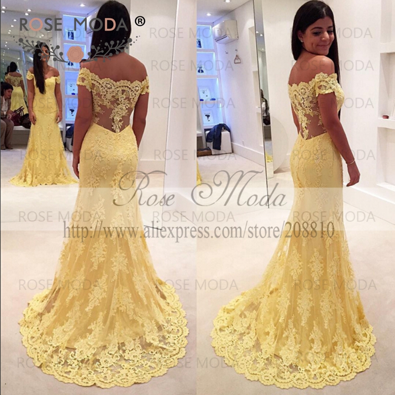 Off The Shoulder Short Sleeves Yellow Lace Mermaid Prom Dress With