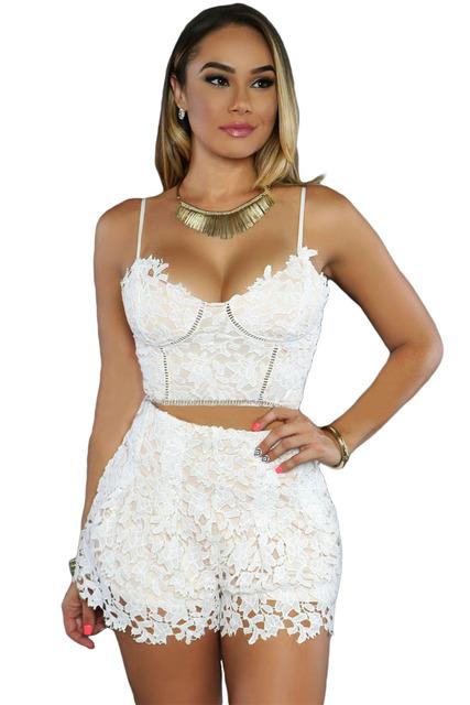 2017 macacão e playsuits sexy macacão feminino curto renda das mulheres Clubwear branco 2 pcs Mulheres Sexy Colheita Top Calções conjunto LC62016