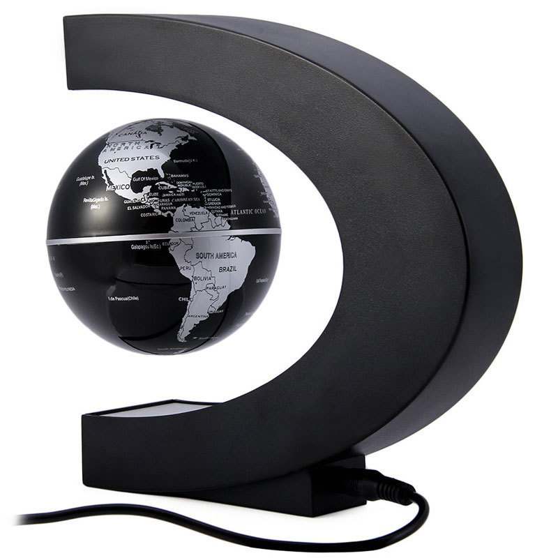 Creative C Shape Magnetic Levitation Floating Globe Rotating Magnetic World Map Colorful LED Lamp For Children Decoration Gifts