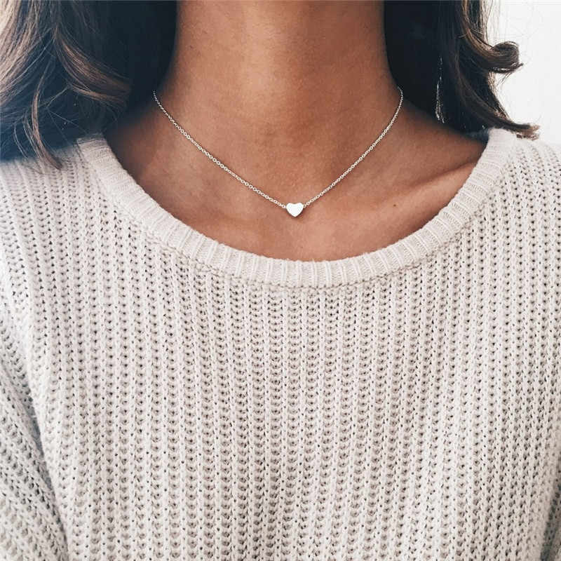Ornaments Concise All-match Heart silver long Necklace neckless Woman Love Pendant Neck gold Bone Chain preciosas, choker metal