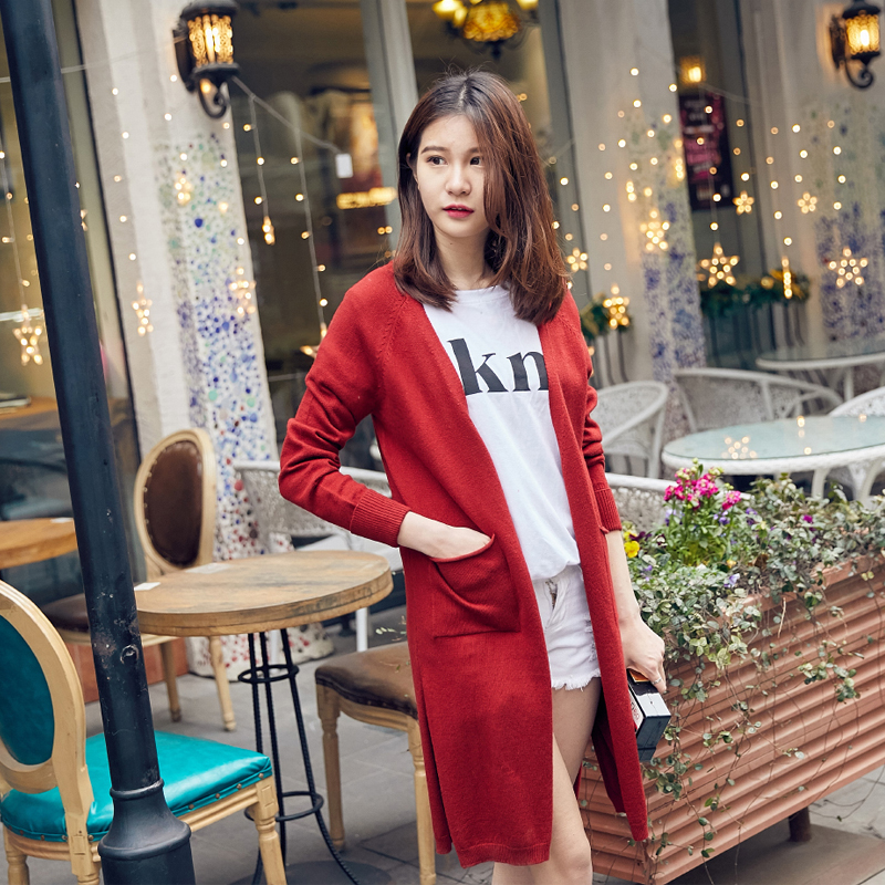 2018 New Fashion Maxi Long Cashmere Sweater Women Cardigan Coat Female Single Breasted Knitted Sweaters V-Neck Cardigan