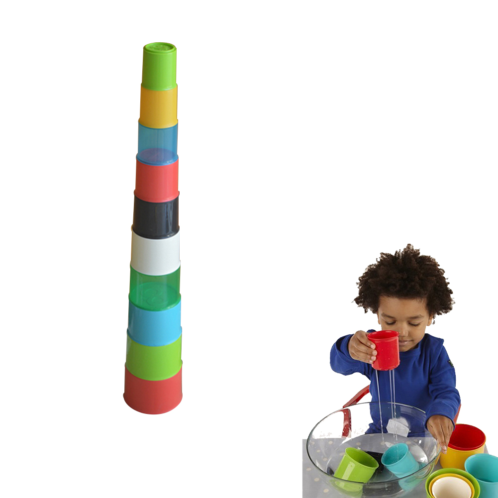 10Pcs Baby Toys Children Rainbow Stacking Cups Set Nesting Cups Baby Building Set Quick Stacks Cups Educational Toys