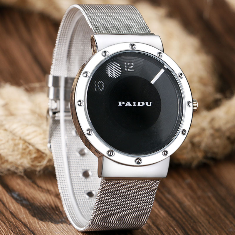 New PAIDU Brand Silver & Black Turntable Creative Dial Design Watches With Mesh Stainless Steel Band For Men Women relojes brand new black