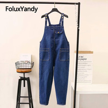 Brand New Jeans Overalls Women Denim Overalls Casual Suspenders Trousers Loose Plus Size Jeans KKFY3247 недорго, оригинальная цена