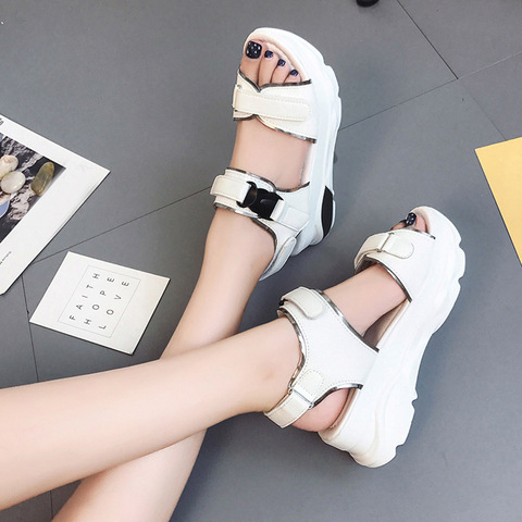 Buckle Leather Sandals Women Spring Summer Thick Bottom Shoes Fashion Casual High Platform Sandals Med Heel Wedges Walk Shoes Pakistan