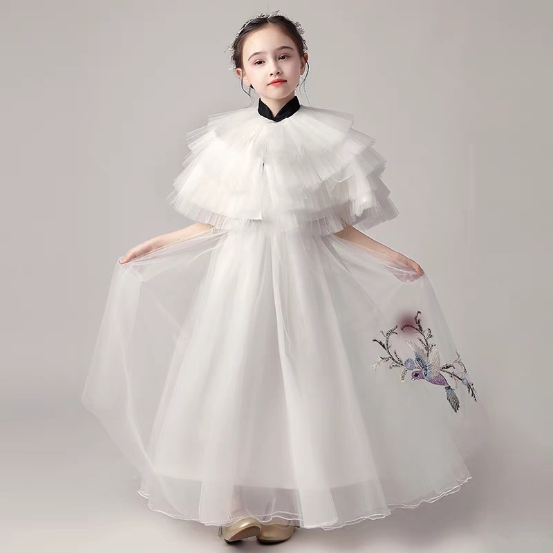 2019 Children Girls Luxury Evening Party Birthday Princess Ball Gown Mesh Dress For 3 15years Teens