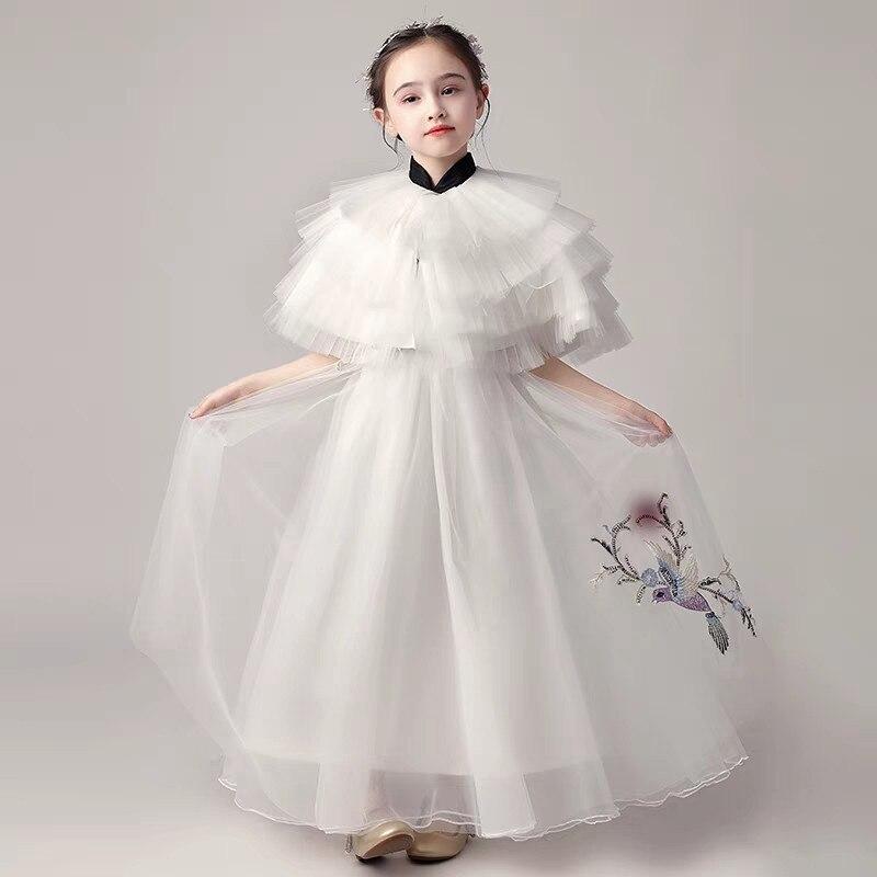 2019 子供女の子高級イブニングパーティー誕生日プリンセス夜会服メッシュ 3 15years ためティーンモデルキャットウォーク衣装ドレス  グループ上の ママ & キッズ からの ドレス の中 1