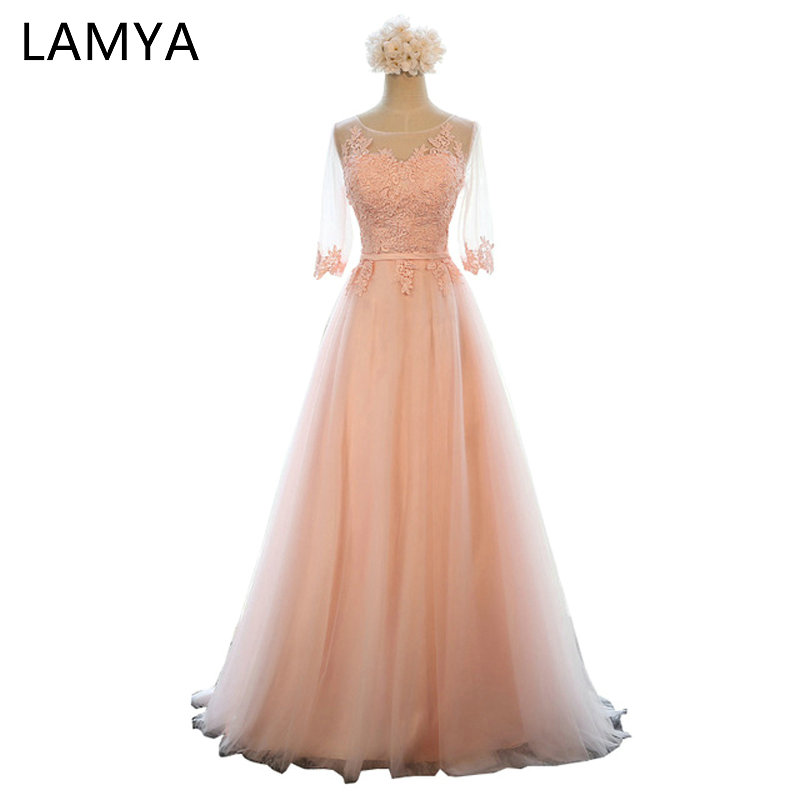 LAMYA 11 Colors Cheap Long Tulle Evening Dresses With Half Sleeve Women Plus Size Elegant Formal Party Dress Real Photo EV2715
