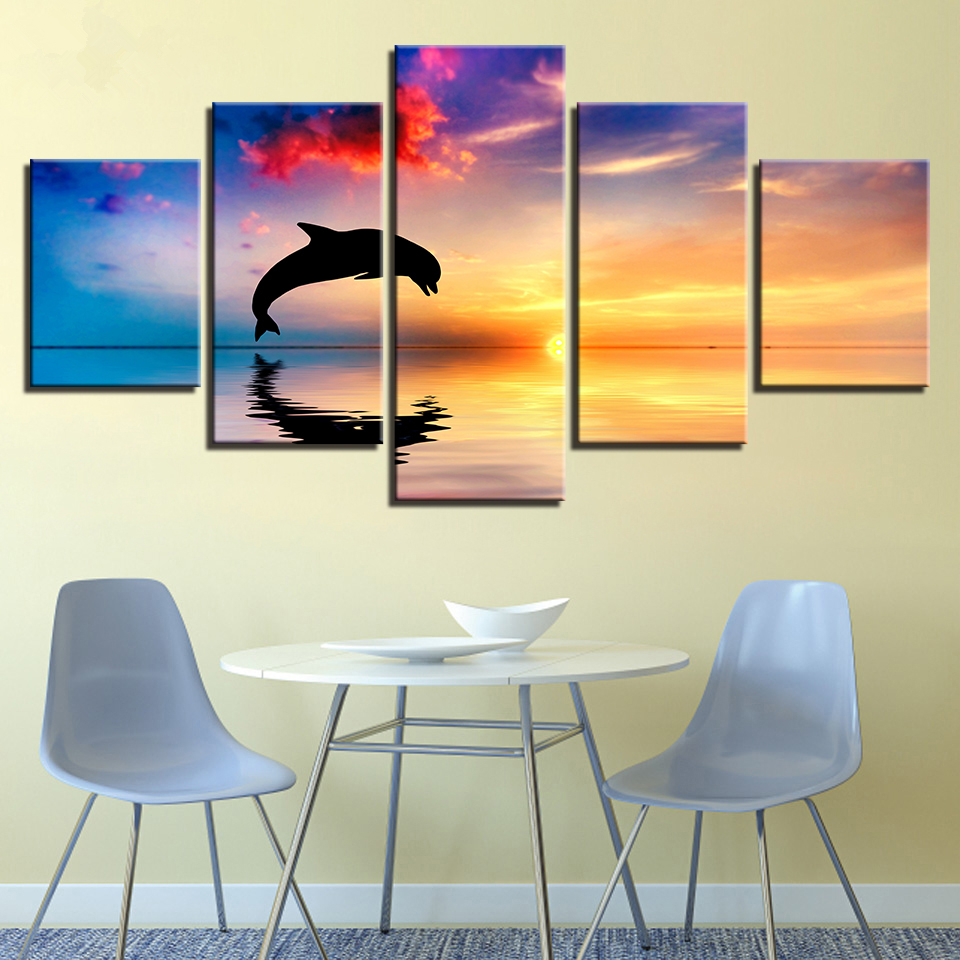 Framed Canvas HD Prints Pictures Living Room Wall Art 5 Pieces Dolphins Swim Jump Paintings Home Decor Sunset Seascape