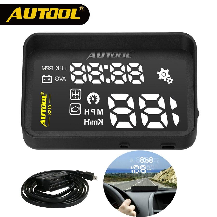 AUTOOL HUD Head Up Display coche OBD2 II Headup velocidad proyector de OBD inteligente Digital velocímetro vehículo X30 X210 X220 x230