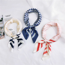 New Elegant Women Square Scarf Stripe Printing Satin Scarves Female Neckerchief Soft Multifunctional Bandana Foulard Headband