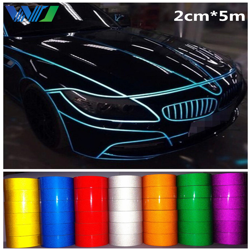 Car-styling 2cm*5m Super reflective Motorcycle Bike Tape Decoration Film Decal Self Adhesive safety Warning Tape Car Styling 10m super strong waterproof self adhesive double sided foam tape for car trim scotch