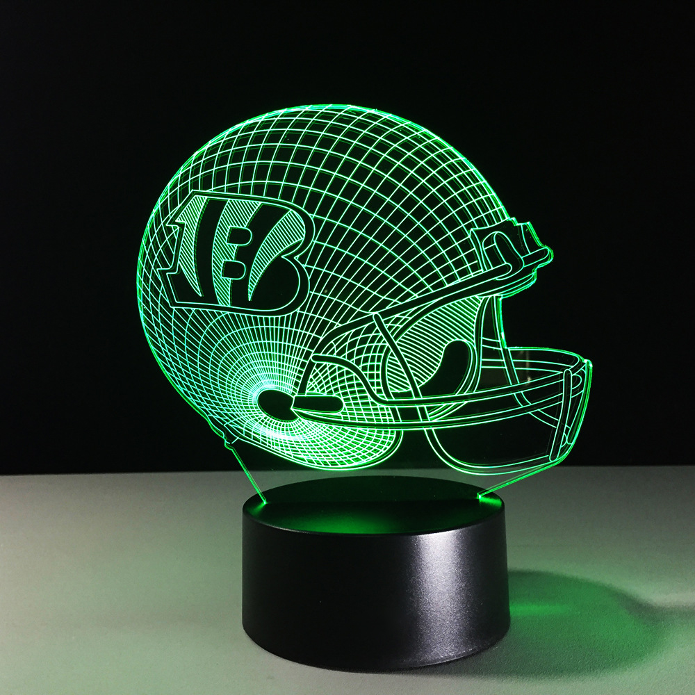 3D LED Football Helmet Night Light 7 Colors Changing Rugby Cap Hat Desk Lamp Kid Gifts Toys USB Luminaria Light Fixture Decor