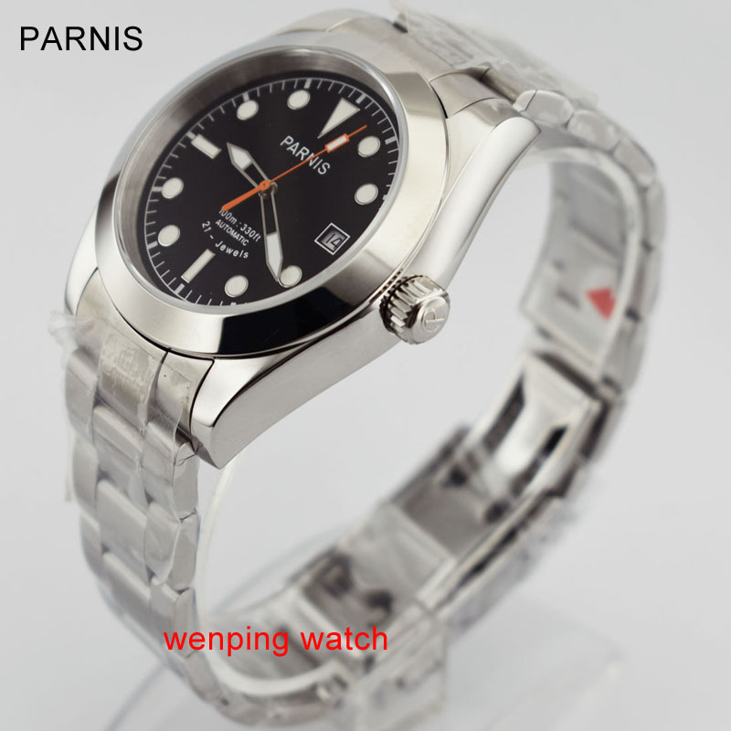Parnis 40mm watch Sapphire Steel Black Dial Automatic Movement Men Watches WW2559