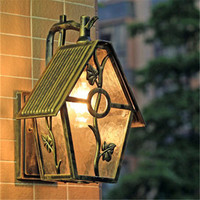 Classic LED House Shaped Wall Porch Light Outdoor Garden Waterproof European Style Retro Courtyard Aisle Hotel