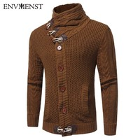 Envmenst 2017 NEW Autumn Winter Fashion Leisure Cardigan Sweater Coat Men Horn Button Warm Knitting Clothes
