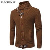 Envmenst 2017 NOWY Jesień Zima Moda Rozrywka Sweter Sweter Płaszcz Mężczyźni Przycisk Klaksonu Ciepłe Knitting Odzież Swetry