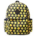 New brand 2017 Fashion Women Canvas Backpacks Smiley Emoji Face Printing Schoolbag Children school bags for teenagers S-2088