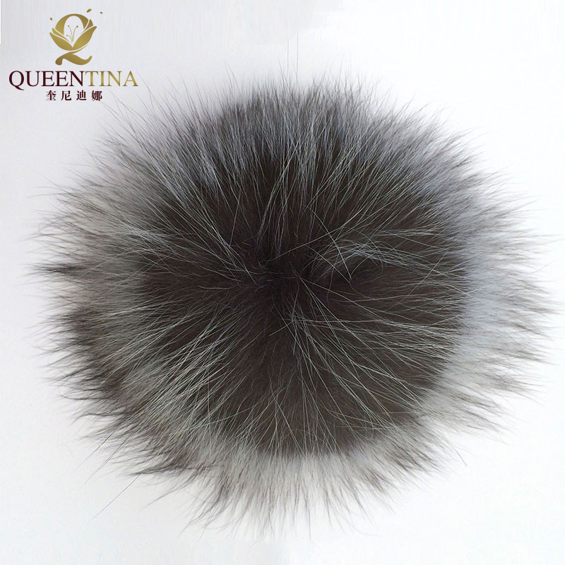 Genuine Real Silver Fox Fur Pompom Fur Pom Poms Ball for Hats & Caps Big Natural Fur Pompon Ball For Shoes Hats Bags Accessories alphbet pompom fashion for car 12cm fluffy real fox fur pompon key ring keychain for bag accessory
