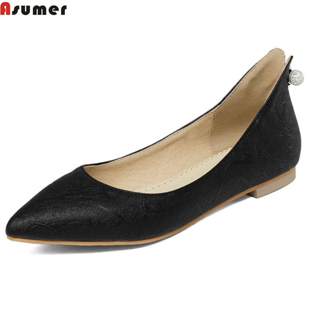 Asumer black fashion casual spring autumn women shoes pointed toe shallow ladies flats shoes crystal big size 34-43 new spring autumn women shoes pointed toe high quality brand fashion ol dress womens flats ladies shoes black blue pink gray