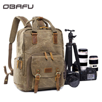 DSLR Camera Bag Waterproof Waxed Photography Backpack Canvas Shoulder Bag Camera Case For Canon Nikon Sony Lens Pouch Bag