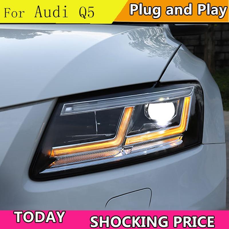 Doxa 用カースタイリングアウディ Q5 ヘッドライト 2009 2012 2013 2018 Q5 LED ヘッドライト DRL レンズダブルビームバイ LED レンズ車のヘッドライト  グループ上の 自動車 &バイク からの カーライトの組み立て の中 1