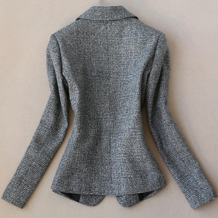 2019 Autumn Women Long Sleeved Woolen Suit Blazer Jacket + Pencil Pants Two Piece office Ladies Professional Pants Suit - 4