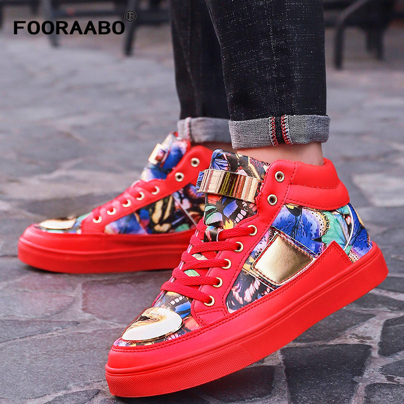 Fooraabo 2018 New Print Luxury Mens Casual Shoes Flat Autumn High Top Mens Sneaker Winter New Lace-up Hip Hop PU Leather Shoes eyelet lace botanical print top
