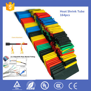 164pcs Set Polyolefin Shrinking Assorted Heat Shrink Tube Wire Cable Insulated Sleeving Tubing Set 2:1
