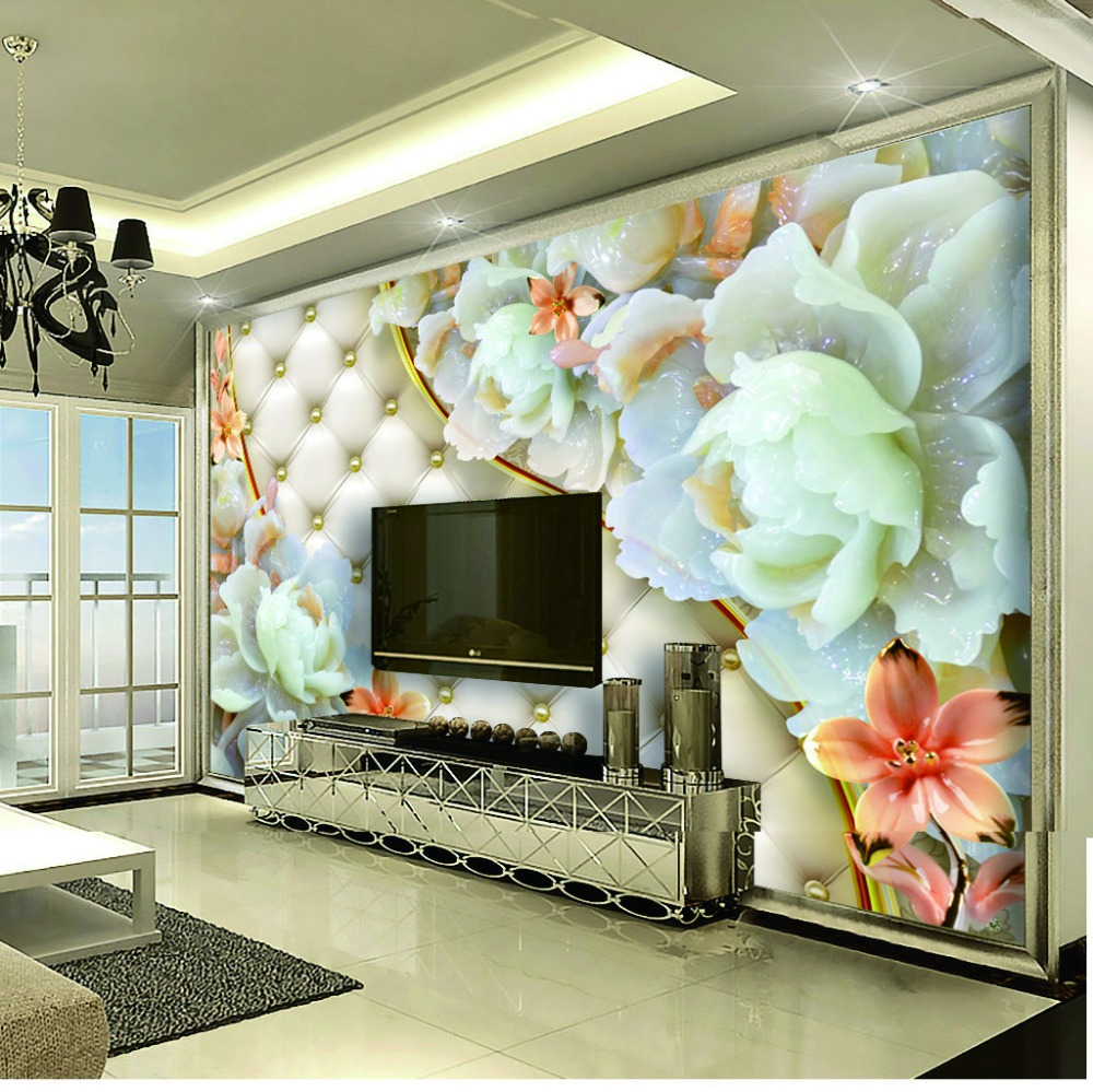 Learned Custom 3d Photo Wallpaper Living Room Mural Plum Blossom Jade Carving Picture Sofa Tv Background Non-woven Wallpaper For Wall 3d Painting Supplies & Wall Treatments Wallpapers