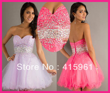 Lilac Strapless Sequined Crystals Short Ball Gown Cocktail Dress Homecoming Dresses E2832