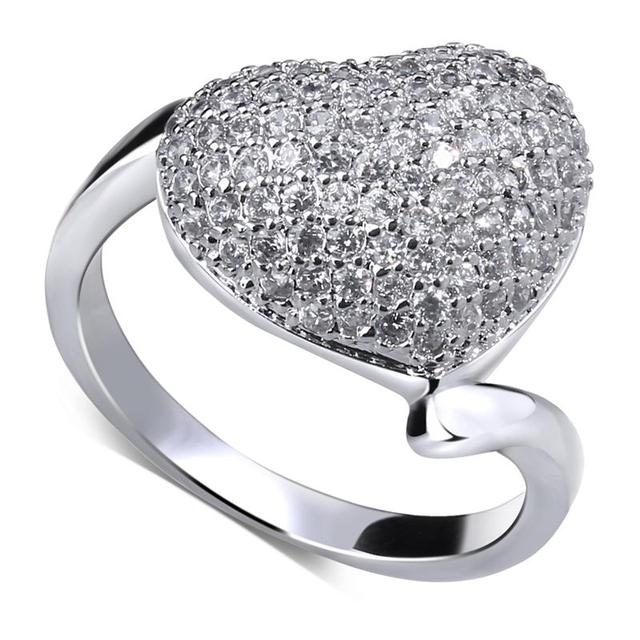 Most Popular Gifts For Women 2016 Part - 48: Limited-Time Discount Most Popular Romantic Women Rings Luxury Anniversary  Gift Heart Face Rhodium Color