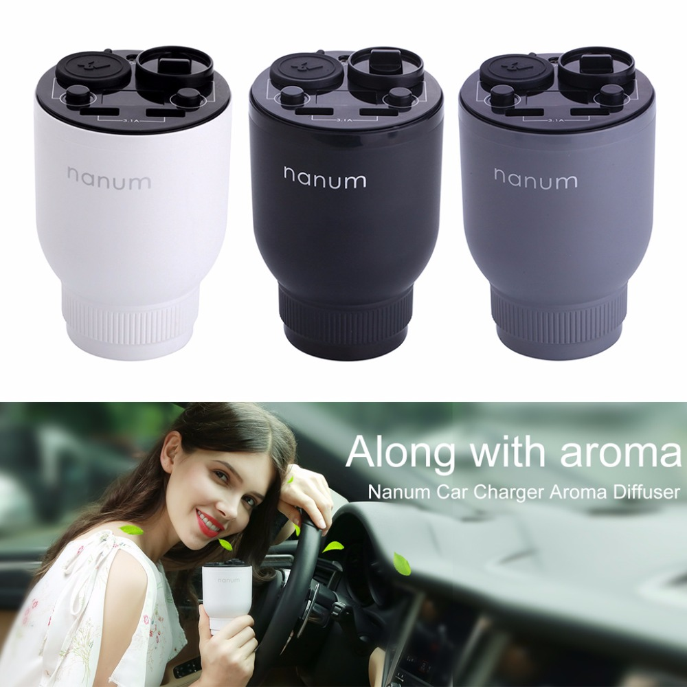 1Set 5V/3.1A Portable Car Charger Aromatherapy Humidifier Fragrance Cup Holder Cars Cigarette Lighter Dual USB автодержатель capdase cup holder charger