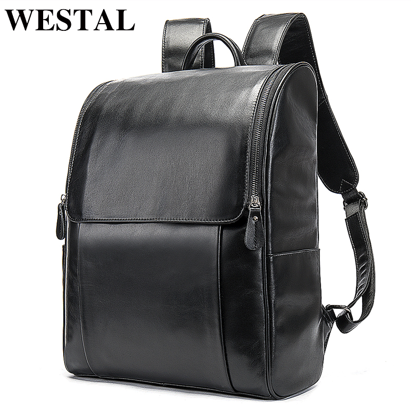 WESTAL Genuine Leather Bags For Man Laptop Backpack Anti Theft School Bags For Teenage Travel Male Casual Man Messenger 9110
