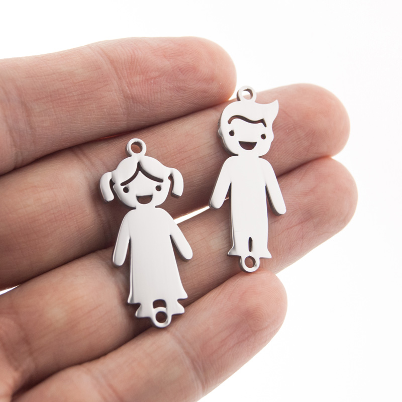 Stainless Steel Bracelet connector son daughter with 2 loops boy girl Customized shape plate mirror polished