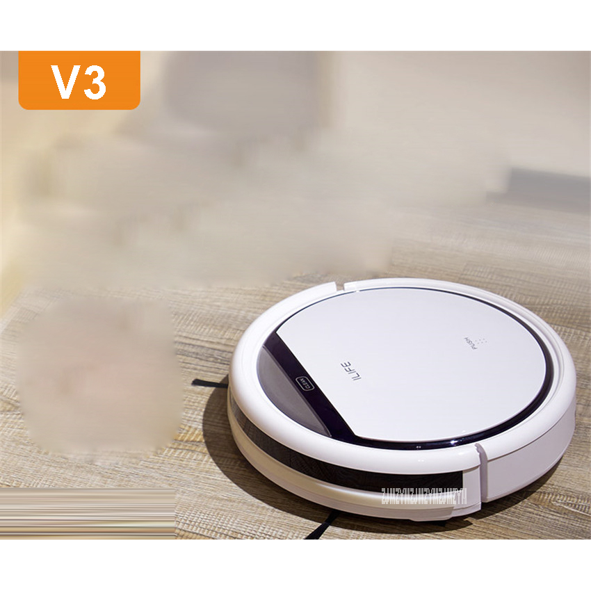 V3 100-240V Mini Robot Vacuum Cleaner for Home 20W Automatic Sweeping Dust Sterilize Smart Planned Mobile App 2600mah Battery cen546 110 220v mini robot vacuum cleaner for home automatic sweeping dust sterilize smart planned mobile app 0 3l dust box
